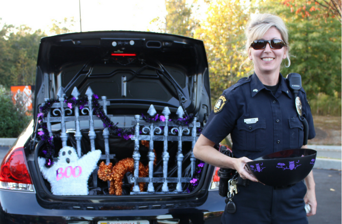 Officer with Halloween candy