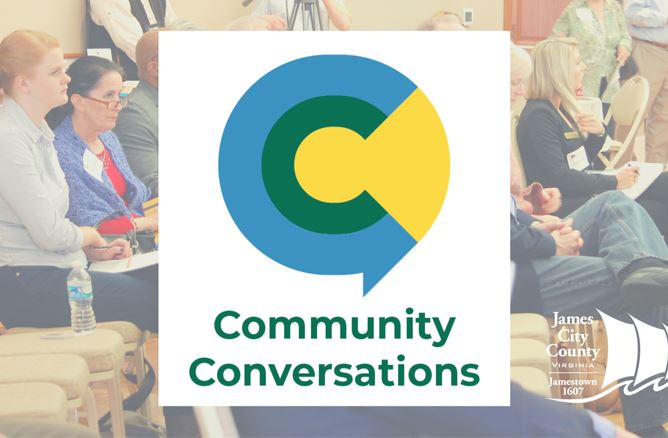 Community Conversations logo over group of people