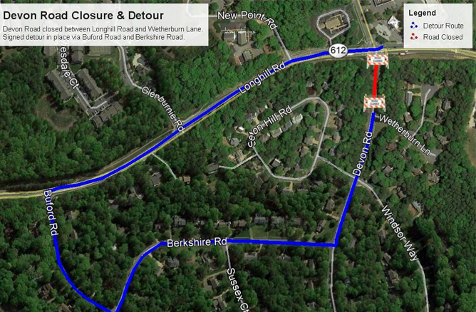 Devon Road Closure and Detour map