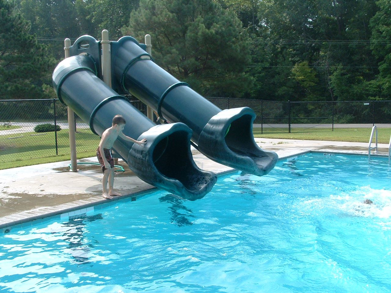 Water slide at Upper County Park pool